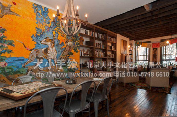 街舞涂鸦画_餐厅手绘墙壁画欣赏 墙体彩绘-大小墙体彩绘公司