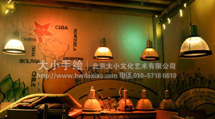 第一站行程:复古风旅行者主题酒吧餐厅手绘墙壁画