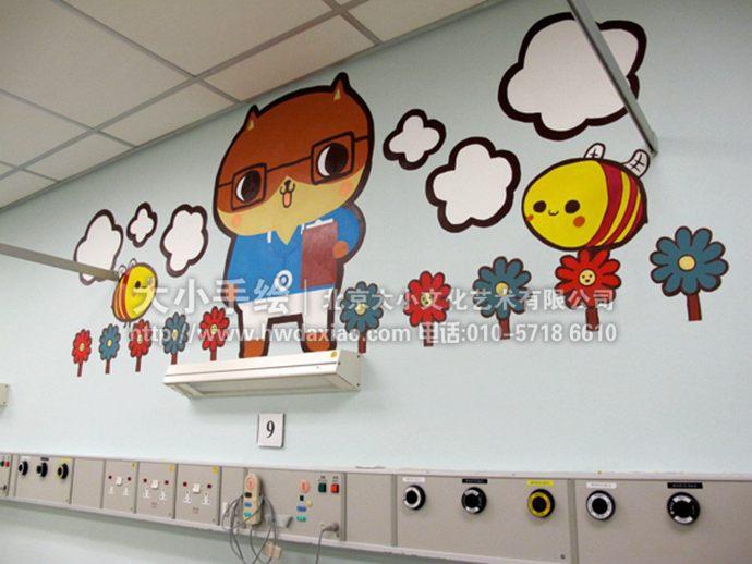 卡通熊医生墙绘,早教中心彩绘,儿童医院手绘墙,儿童房壁画,餐厅手绘墙