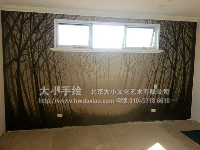 卧室墙绘,树林彩绘,创意手绘墙,走廊壁画,餐厅手绘墙,办公室手绘墙,北