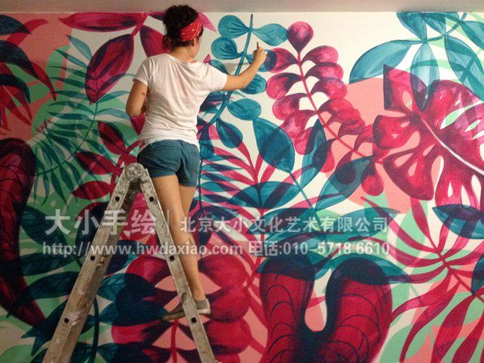 热带植物墙绘,抽象彩绘,旅店手绘墙,卧室壁画,餐厅手绘墙,办公室手绘
