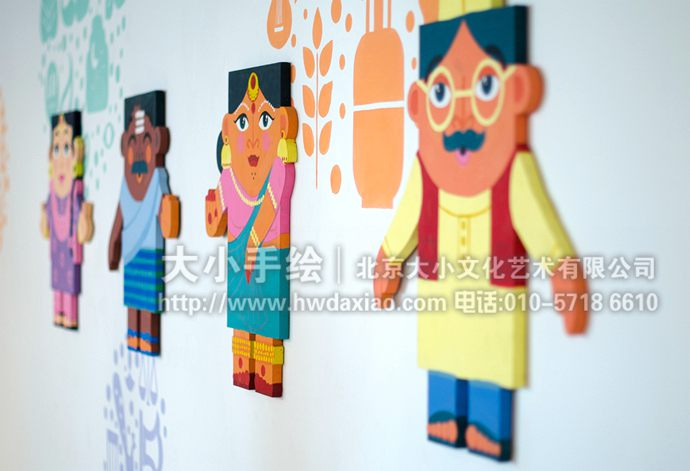趣味印度民族风格花纹手绘墙壁画