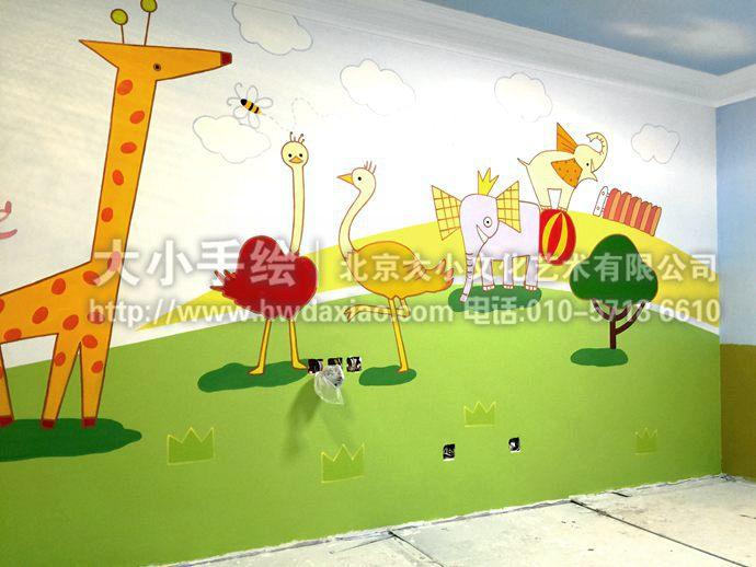 趣味动物儿童房手绘墙壁画