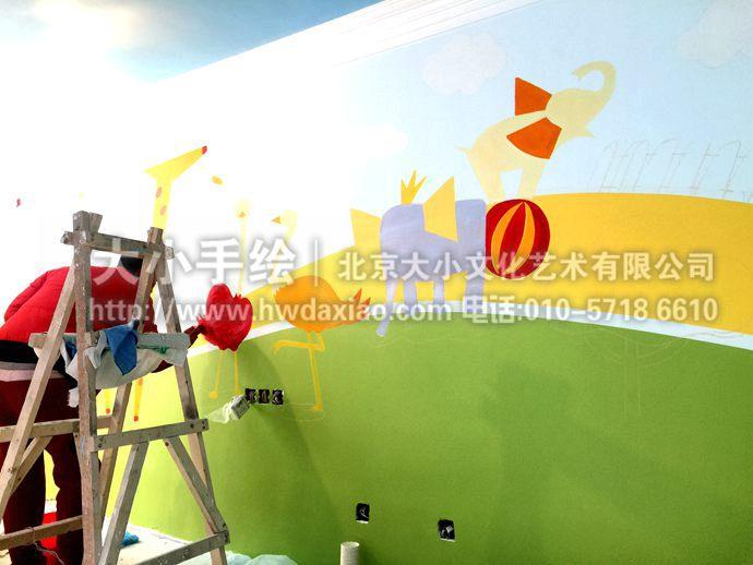 卡通动物墙绘,幼儿园彩绘,早教中心手绘墙,儿童房壁画,餐厅手绘墙