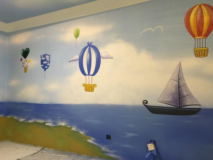 儿童房墙绘,幼儿园彩绘,热气球手绘墙,帆船壁画,餐厅手绘墙,办公室