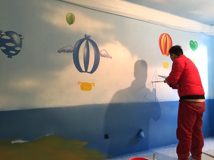 幼儿园彩绘,热气球手绘墙,帆船壁画,餐厅手绘墙,办公室手绘墙,北京