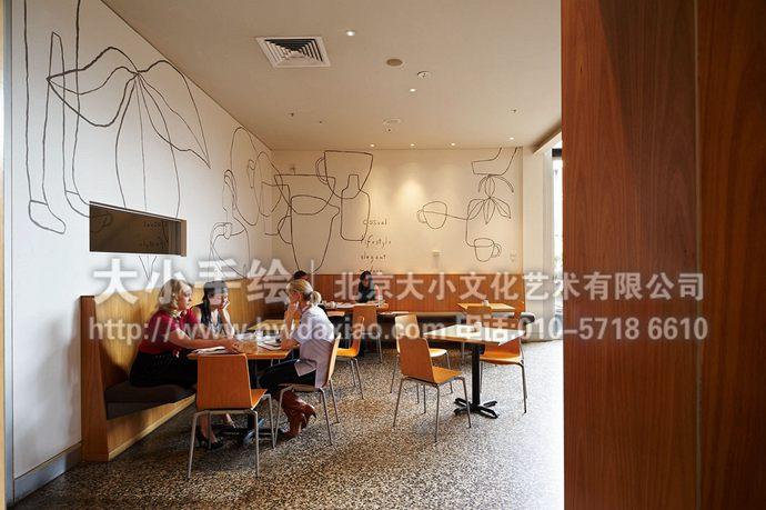 抽象咖啡厅餐厅手绘墙壁画
