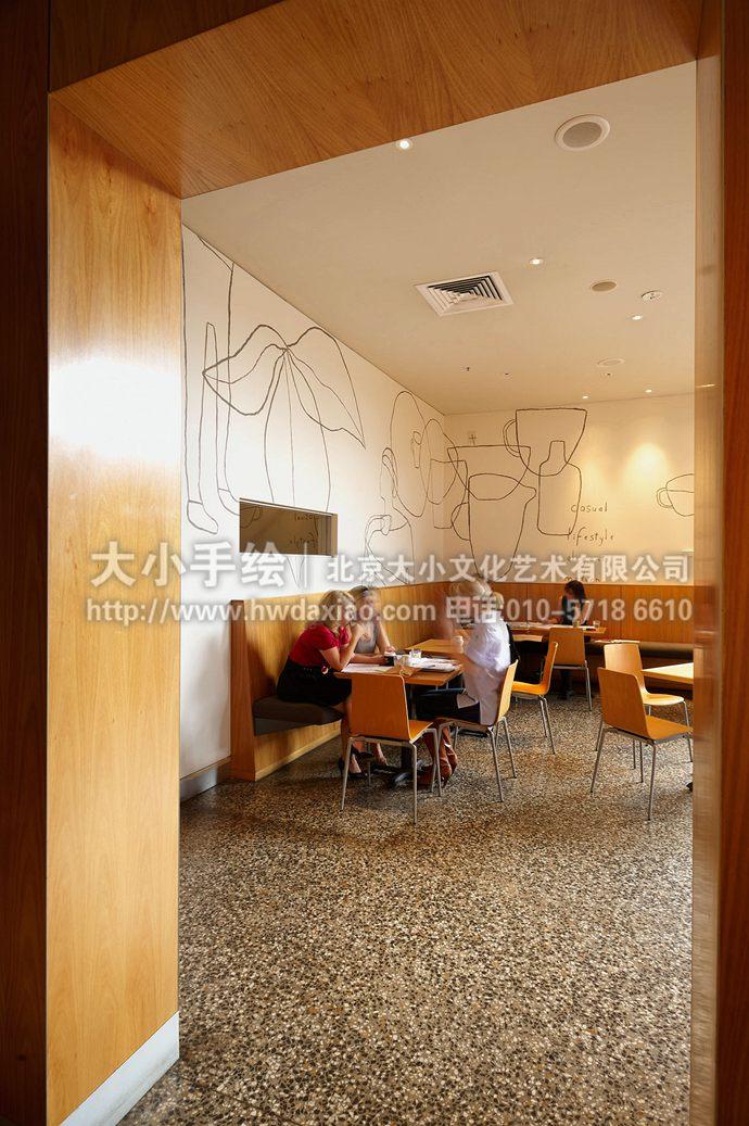 线条墙绘,抽象手绘墙,咖啡厅彩绘,简约壁画,餐厅手绘墙,办公室手绘墙