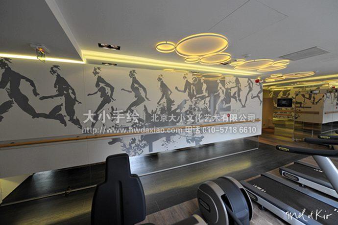健身房墙绘,跑步手绘墙,剪影彩绘,人物壁画,餐厅手绘墙,办公室手绘墙
