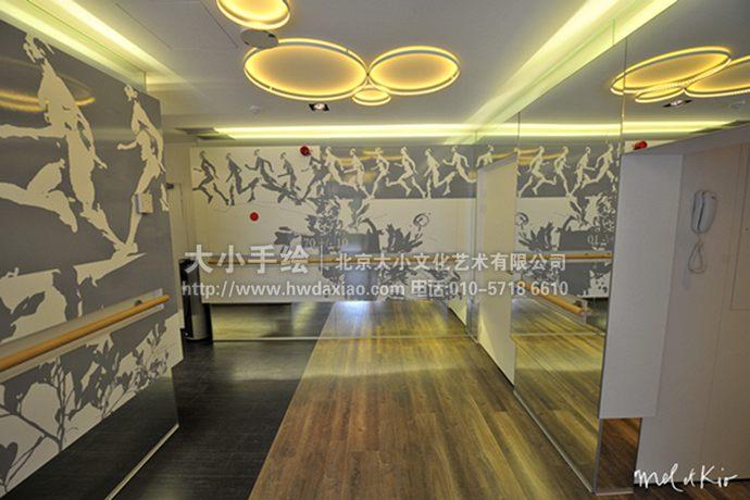 动感跑步者健身房手绘墙壁画