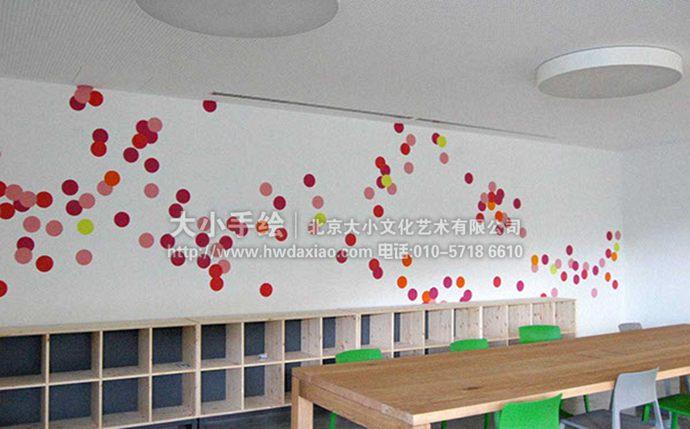 青春活力彩色波点办公空间手绘墙壁画