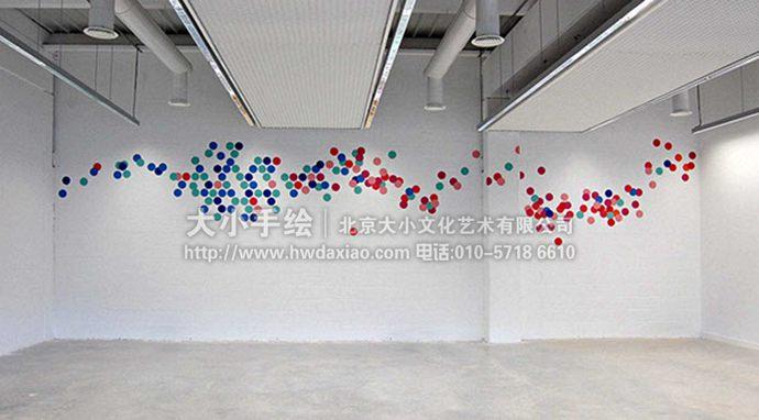 波点墙绘,大厅手绘墙,动感彩绘,创意壁画,餐厅手绘墙,办公室手绘墙