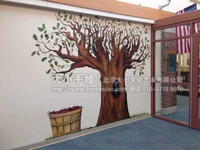 树木墙绘,咖啡厅手绘墙,客厅彩绘,校园壁画,餐厅手绘墙,办公室手绘墙