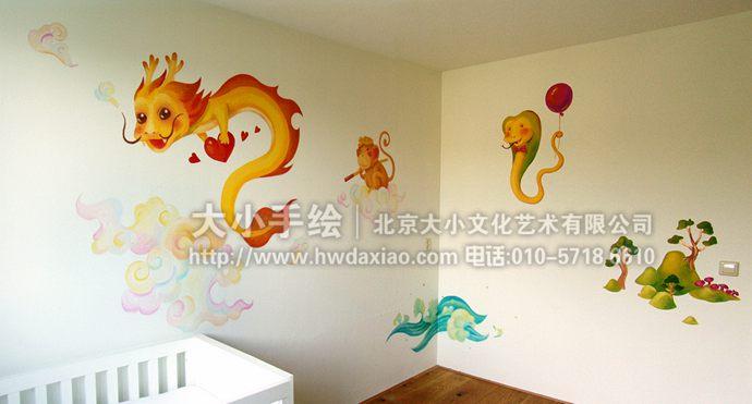 萌萌的可爱卡通十二生肖儿童房手绘墙壁画