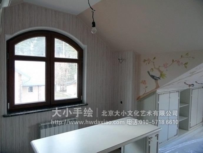 花鸟墙绘,走廊手绘墙,儿童房彩绘,阁楼壁画,餐厅手绘墙,办公室手绘墙