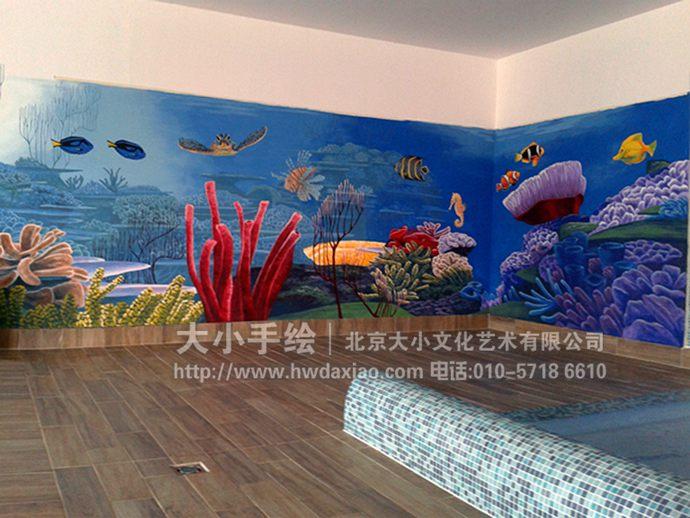 校园墙绘,海龟,珊瑚,海底世界手绘墙,3d立体壁画,餐厅手绘墙,办公室