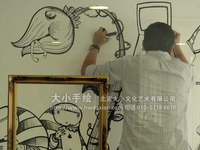 趣味黑白线描卡通办公室手绘墙壁画