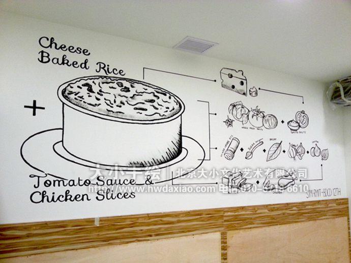 黑白墙绘,线条手绘墙,食品彩绘,饭店壁画,餐厅手绘墙,办公室手绘墙