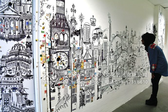 漫画风格的伦敦风景黑白线条手绘墙壁画