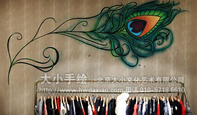 线描墙绘,女性人物手绘墙,店铺彩绘,服装店壁画,餐厅手绘墙,办公室