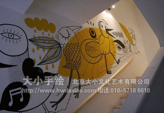 趣味卡通楼梯间走廊手绘墙壁画