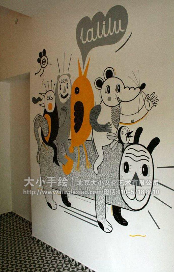 趣味卡通楼梯间走廊手绘墙壁画图片