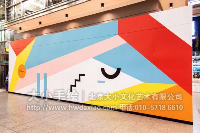 展厅墙绘,色块手绘墙,店铺彩绘,创意壁画,餐厅手绘墙,办公室手绘墙,北