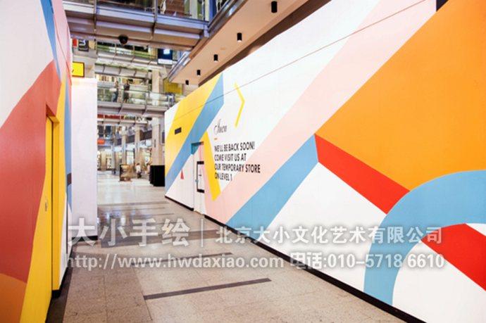展厅墙绘,色块手绘墙,店铺彩绘,创意壁画,餐厅手绘墙,办公室手绘墙