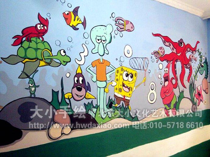 陪伴儿童快乐成长的幼儿园手绘墙壁画图片