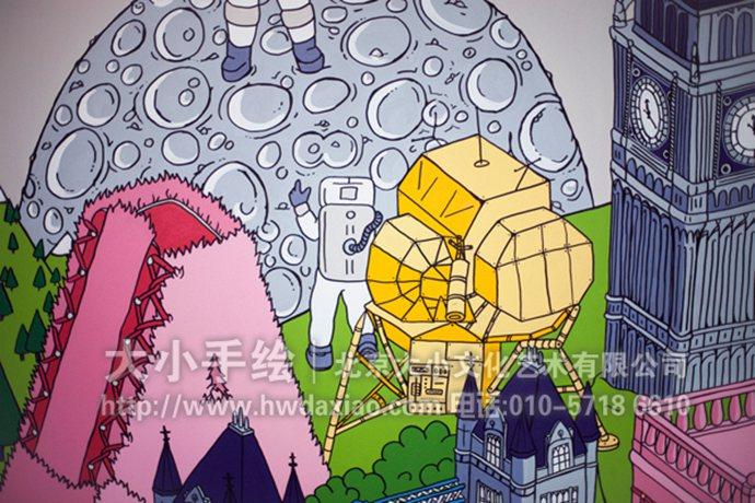 奇思妙想的欢乐世界:办公室手绘墙壁画
