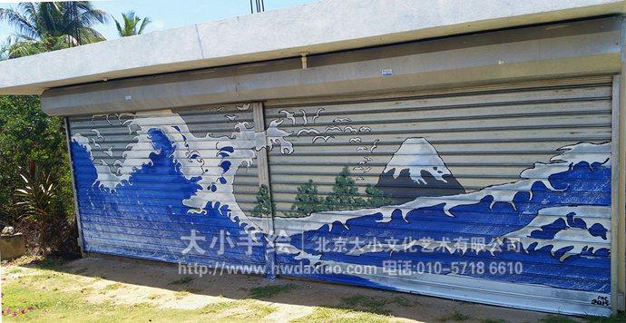 车库墙绘,大海手绘墙,创意彩绘,停车场壁画,餐厅手绘墙,办公室手绘墙