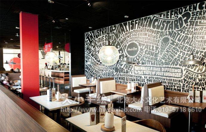 文字墙绘,走廊手绘墙,黑白彩绘,创意壁画,餐厅手绘墙,办公室手绘墙,北