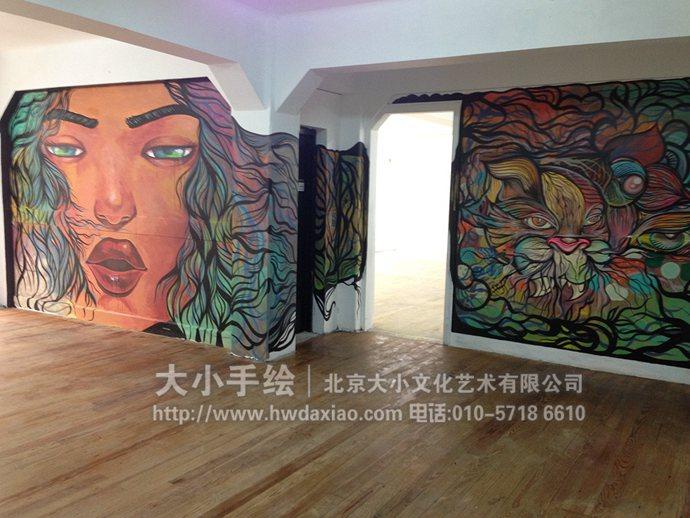 美女墙绘,涂鸦手绘墙,走廊彩绘,展厅壁画,餐厅手绘墙,办公室手绘墙