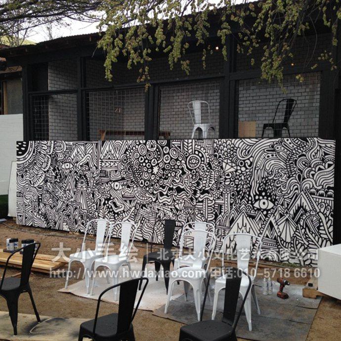 黑白涂鸦墙_改变空间氛围黑白线条餐厅手绘墙壁画 墙体彩绘-大小墙体彩绘公司