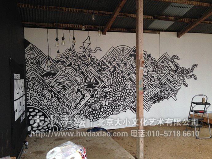 改变空间氛围黑白线条餐厅手绘墙壁画图片