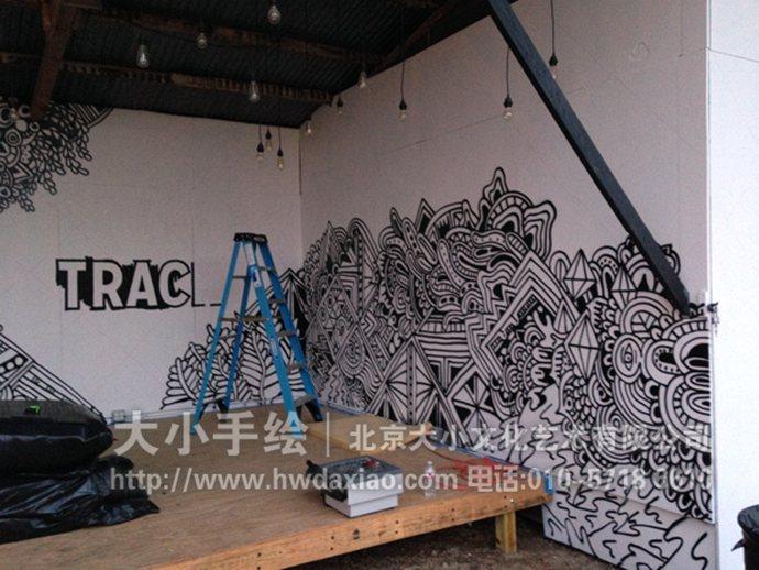 黑白墙绘,线条手绘墙,抽象彩绘,创意壁画,餐厅手绘墙,办公室手绘墙