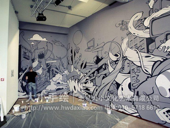 灰色狂欢节:卡通手绘墙壁画 墙体彩绘