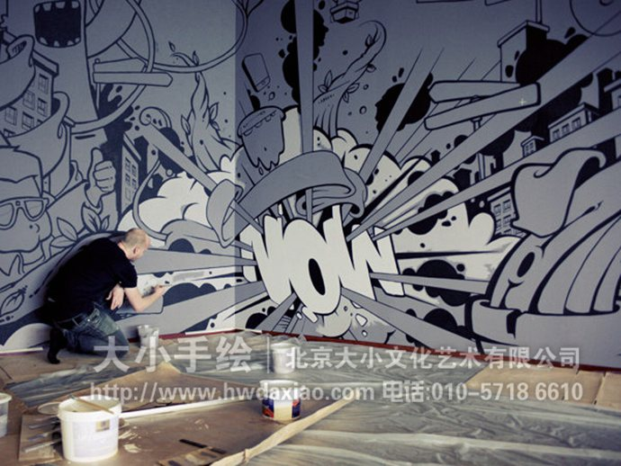 黑白墙绘,卡通手绘墙,城市彩绘,创意壁画,餐厅手绘墙,办公室手绘墙