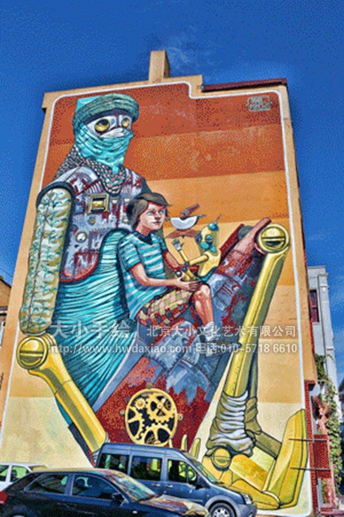 外国大型户外建筑创意手绘墙壁画欣赏 更多墙体彩绘、手绘墙壁画创意详情请点击>http://www.hwdaxiao.com。 同时,也可以关注我们的微信公众平台大小创意壁画,那里有更多好玩有趣的手绘作品欣赏。