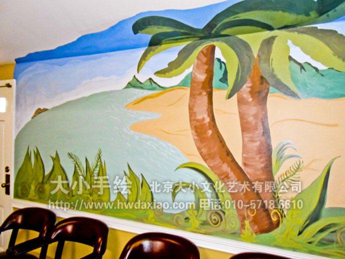 走廊墙绘,会议室手绘墙,沙滩彩绘,海滨风景壁画,餐厅手绘墙,办公室