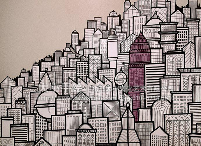 卫生间墙绘,城市手绘墙,建筑彩绘,创意壁画,餐厅手绘墙,办公室手绘墙