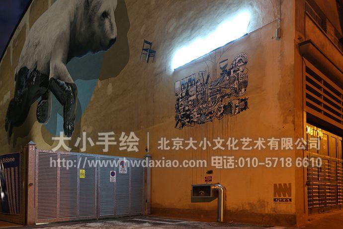 街头墙绘,涂鸦手绘墙,环保彩绘,文化墙壁画,北极熊,餐厅手绘墙,办公室