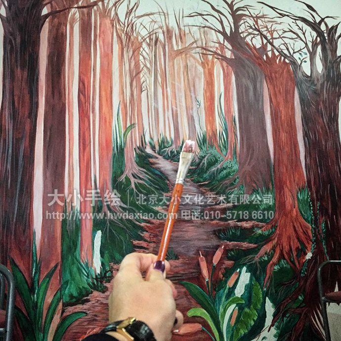 树林墙绘,风景手绘墙,自然彩绘,创意壁画,餐厅手绘墙,办公室手绘墙