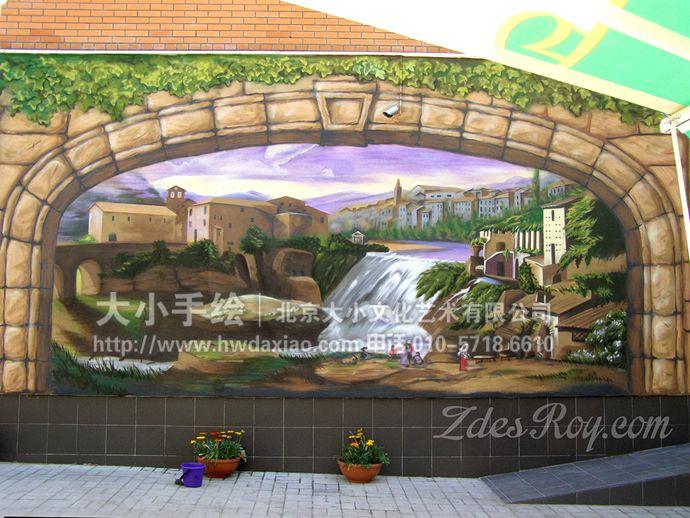 户外墙绘,风景手绘墙,咖啡厅彩绘,创意壁画,石头,瀑布,爬山虎,清凉,餐