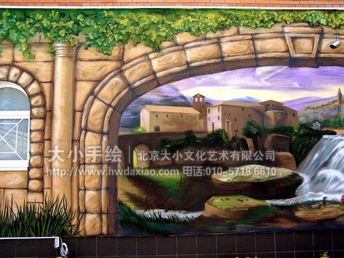 户外墙绘,风景手绘墙,咖啡厅彩绘,创意壁画,石头,瀑布,爬山虎,清凉