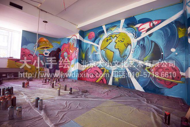 太空,飞船,宇宙,餐厅手绘墙,办公室手绘墙,北京墙绘公司,墙绘素材