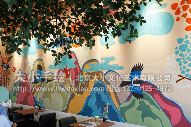 街舞涂鸦画_喜上枝头:民族元素交融的外国餐厅墙绘欣赏-大小墙体彩绘公司