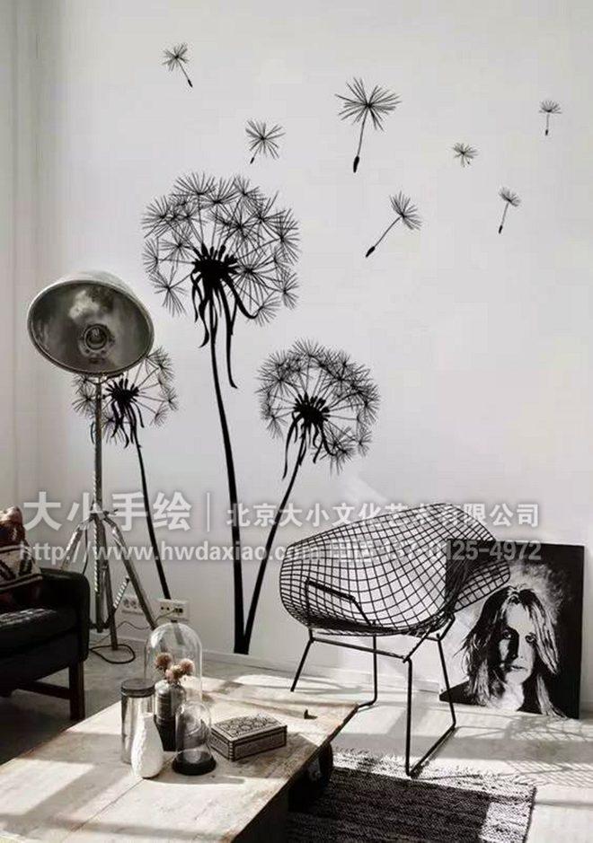 黑白手绘线条画_只需一步让家变的简约又清新:黑白色线描花卉墙体彩绘-大小 ...
