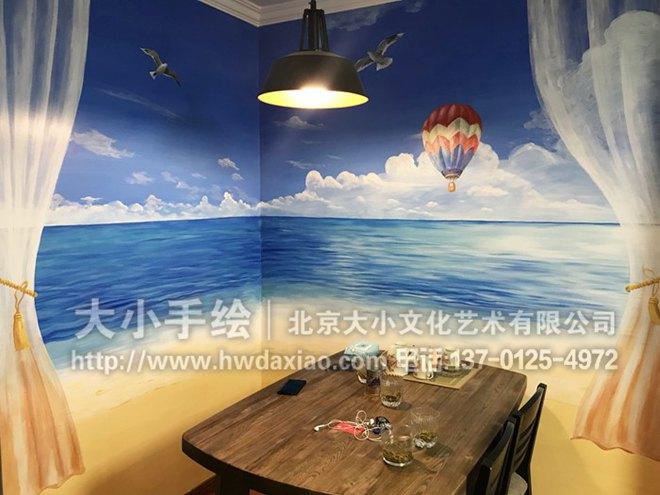 在碧海蓝天之间:家居餐厅海滩风景墙体彩绘