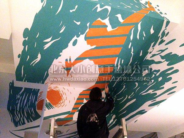 个性酒吧运动风格手绘墙壁画 墙体彩绘图片